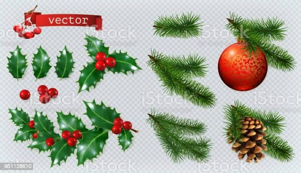 Christmas Decorations Holly Spruce Red Berries Christmas Bauble Conifer Cone 3d Realistic Vector Icon Set - Stockowe grafiki wektorowe i więcej obrazów Bez ludzi