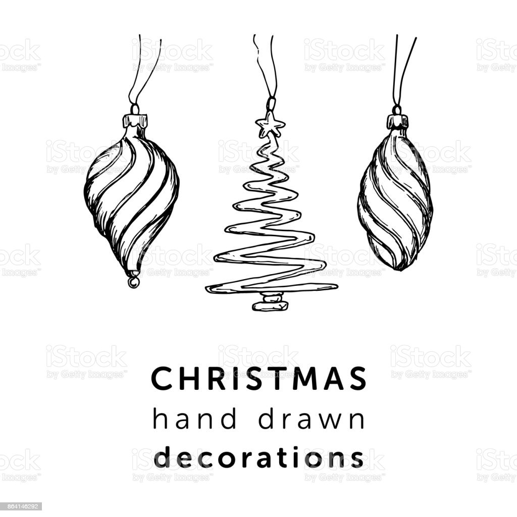 Christmas decorations in simple hand drawn style for your holidays design. royalty-free christmas decorations in simple hand drawn style for your holidays design stock vector art & more images of art