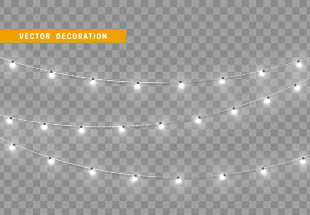 Christmas decorations isolated on transparent background. Christmas decorations, isolated on transparent background. White light garlands realistic set. Silver Xmas decor. Festive design element light through trees stock illustrations