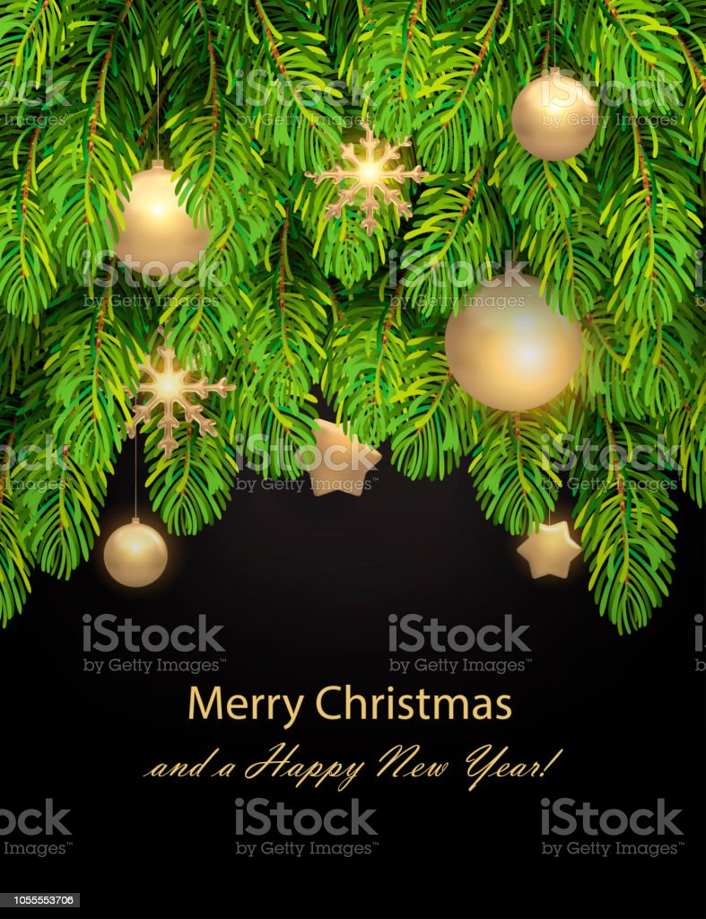 Christmas decorations on pine branches. Golden stars, snowflakes,...