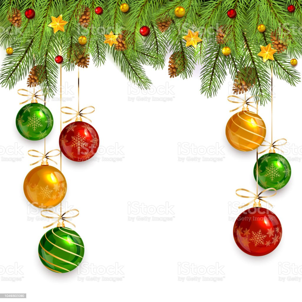 Christmas Decorations On White Background With Fir Tree Branches And ...