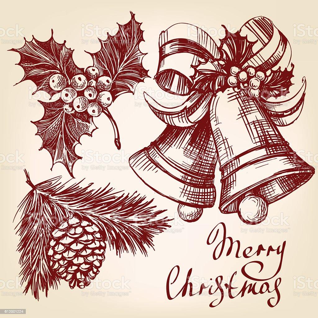 Christmas decorations set hand drawn vector llustration sketch vector art illustration