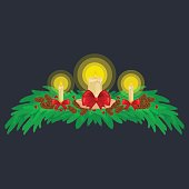Christmas decorations such as candles on the branches of spruce