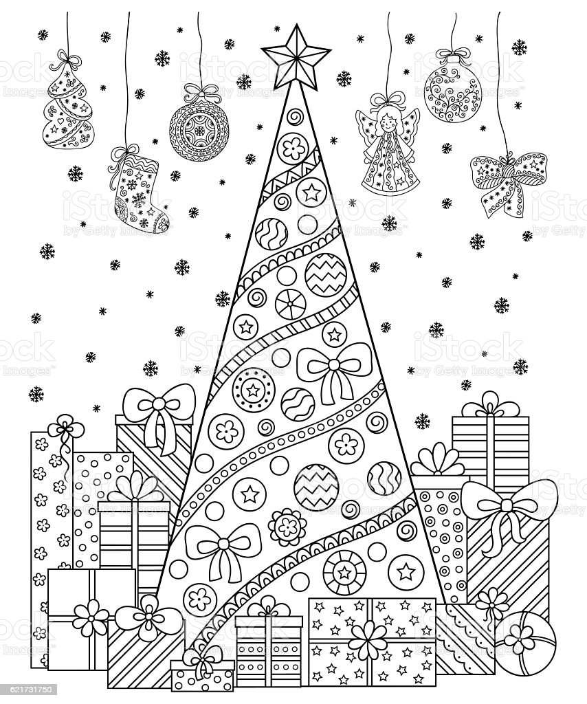 Christmas decorations, tree, gifts, snow. Ccoloring book for children, adults. vector art illustration