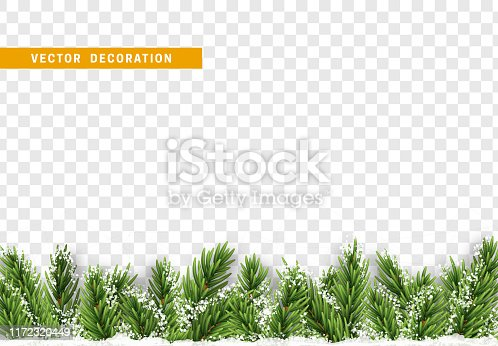Christmas decorations. Border Xmas with pine tree branches and ornaments isolated on a transparent background.