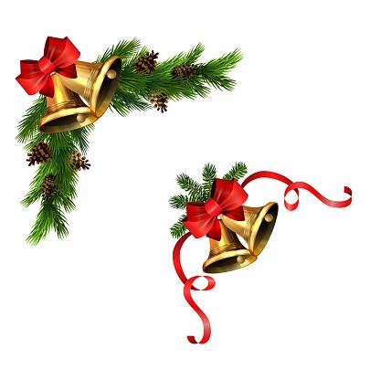 Christmas decorations with fir tree golden jingle bells