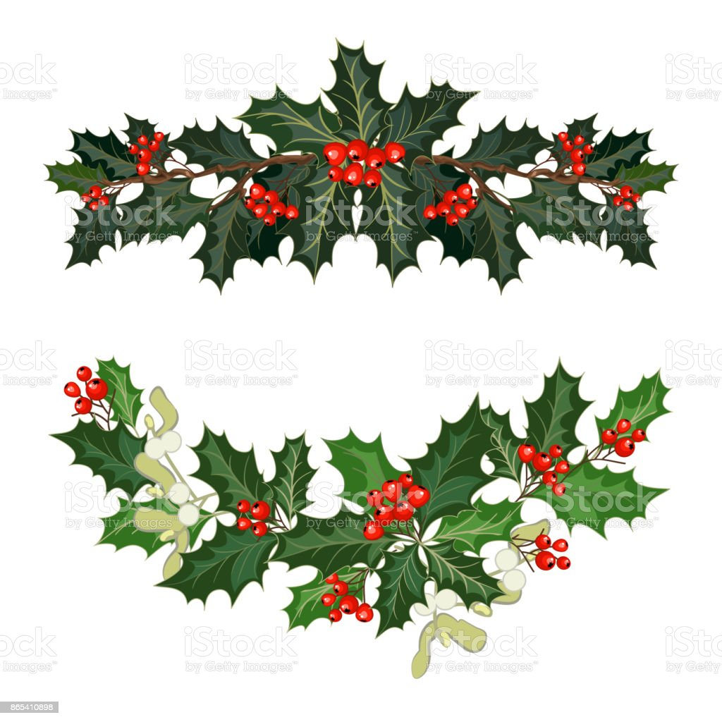 christmas decorations with holly and red berries vector art illustration
