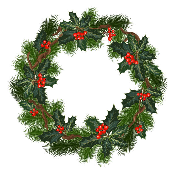 weihnachtsschmuck mit holly und roten beeren - blumengirlanden stock-grafiken, -clipart, -cartoons und -symbole