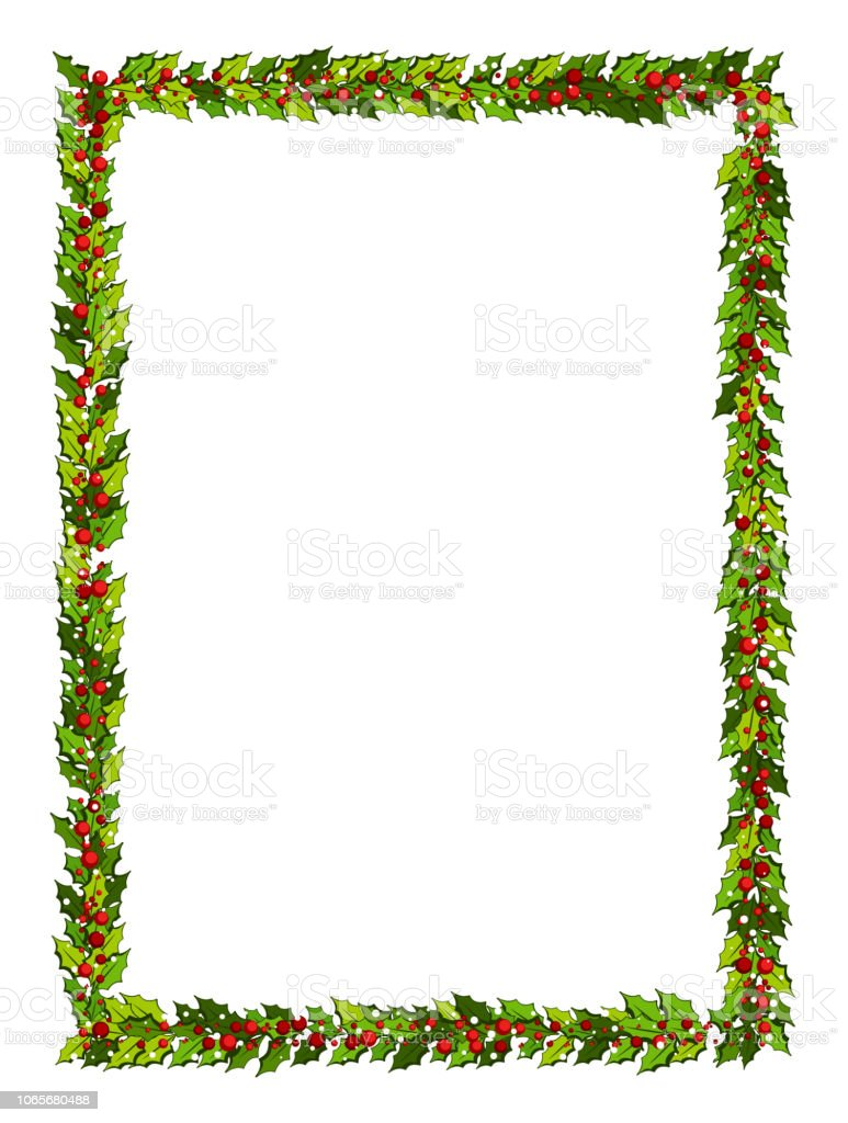 Christmas decorations with holly leaves and red berries. Vertical frame with copy space, royalty-free christmas decorations with holly leaves and red berries vertical frame with copy space stock illustration - download image now