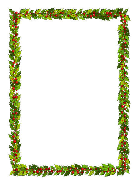 Christmas decorations with holly leaves and red berries. Vertical frame with copy space, Christmas decorations with holly leaves and red berries. Vertical frame with copy space, Illustration for xmas and new year design. frame border stock illustrations