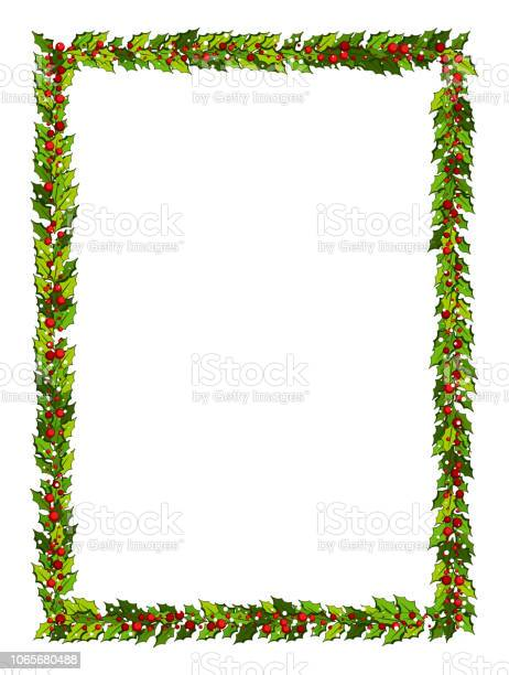 Juldekorationer Med Holly Blad Och Röda Bär Vertikal Ram Med Kopia Utrymme-vektorgrafik och fler bilder på Blomma