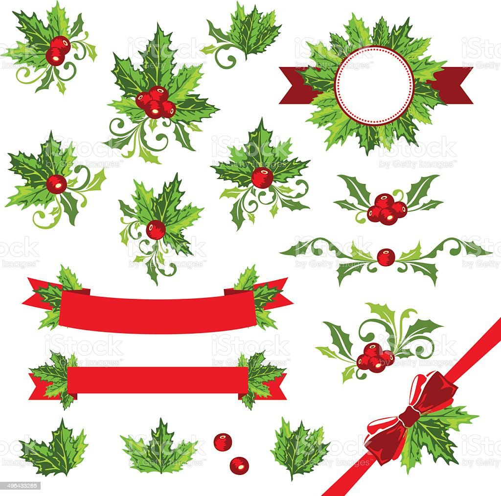 Christmas decorations with holly leaves stock vector art