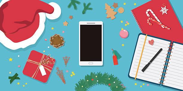 ilustrações de stock, clip art, desenhos animados e ícones de christmas decorations.preparing for christmas card. - christmas table