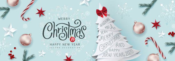 Christmas Decorative Border made of Festive Elements Background .Merry Christmas vector text Calligraphic Lettering Vector illustration. vector art illustration