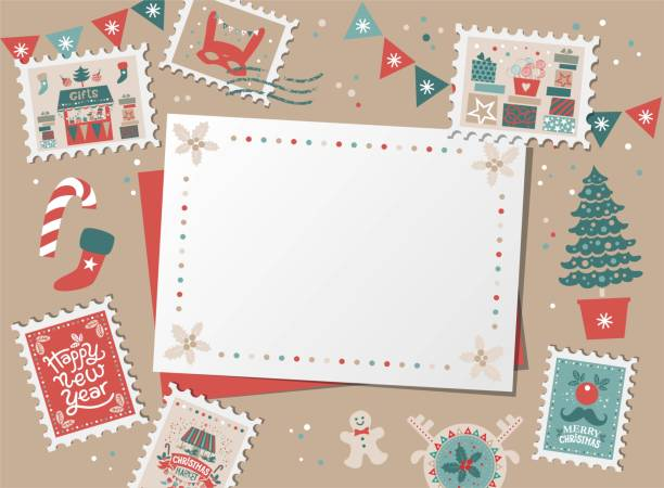 ilustrações de stock, clip art, desenhos animados e ícones de christmas decorative card, border, frame with christmas tree and festive decorations garland, sock, stamps - christmas card
