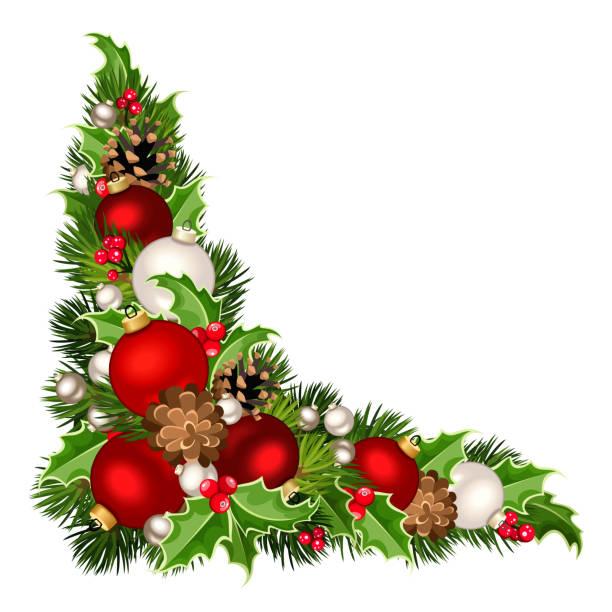 Weihnachten dekorative Ecke Hintergrund. Vektor-Illustration. – Vektorgrafik