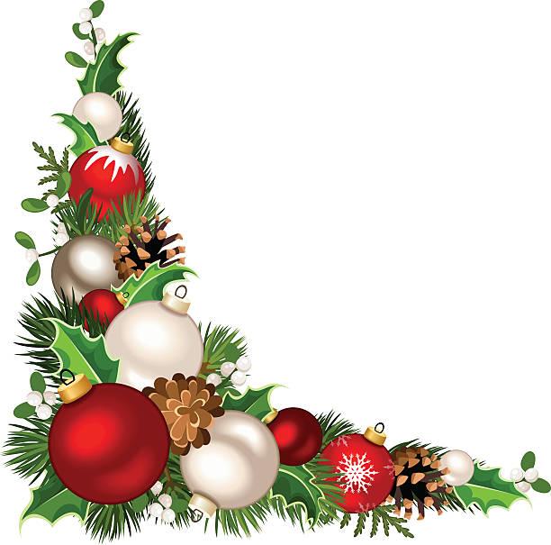 Christmas decorative corner background. Vector illustration. – Vektorgrafik
