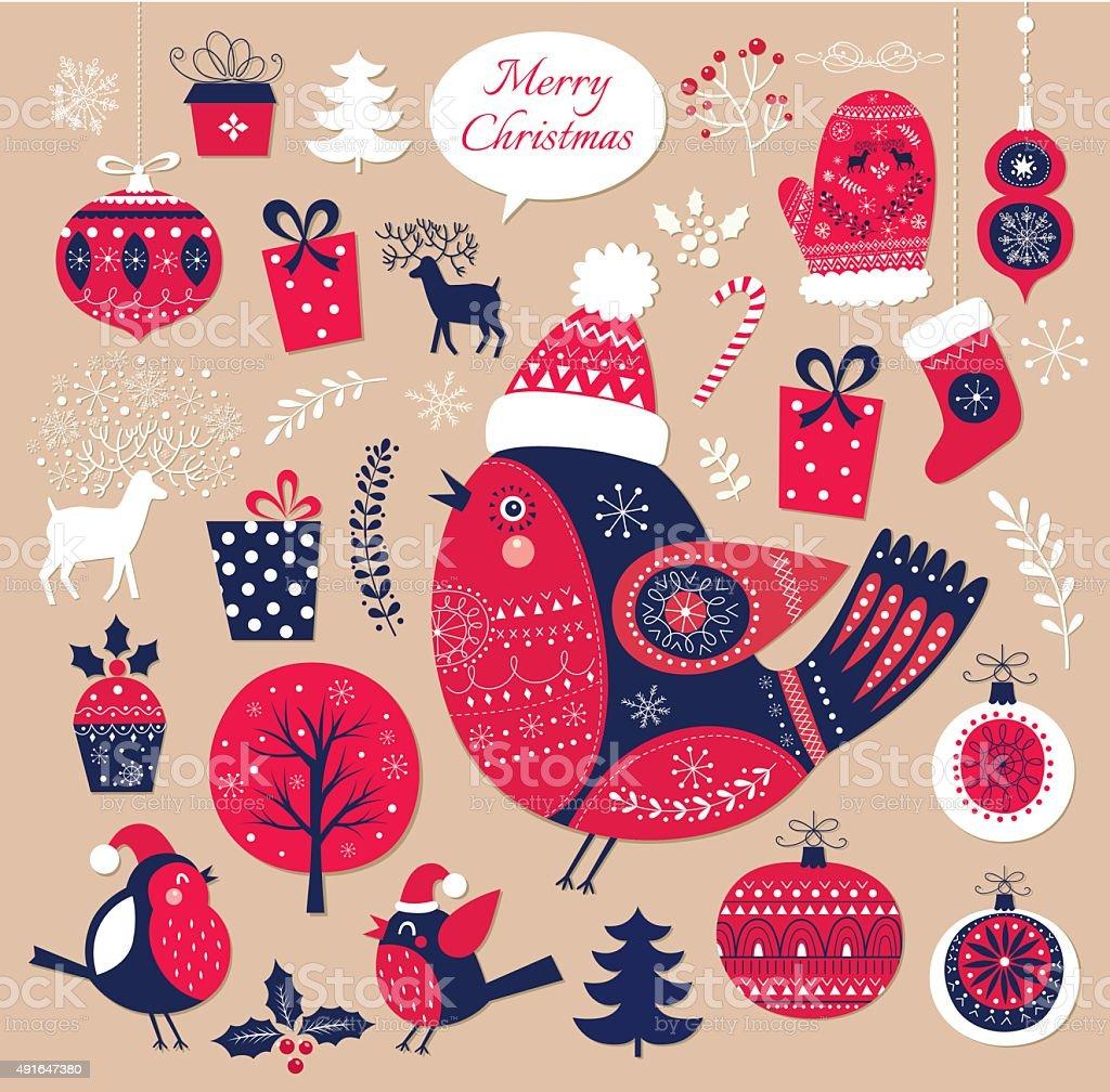 Christmas decorative elements vector art illustration