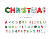Christmas decorative font. All patterns are full under clipping mask. Vector illustration.