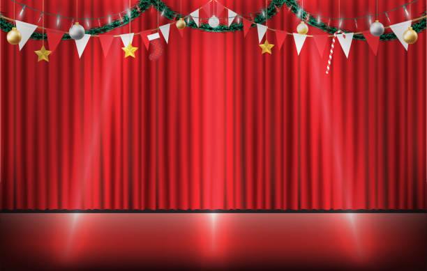 illustrazioni stock, clip art, cartoni animati e icone di tendenza di natale decorativo appeso sul palco tenda rossa - christmas movie