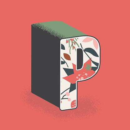 Christmas decorative letter P design
