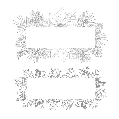 Christmas decorative vintage banners set. Holiday floral frames. Garland of hand drawn pine, yew tree branches and pine cones. Poinsettia, berries and dry grass Isolated engraving illustrations, winter design