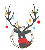Vector Illustration of Christmas deer background