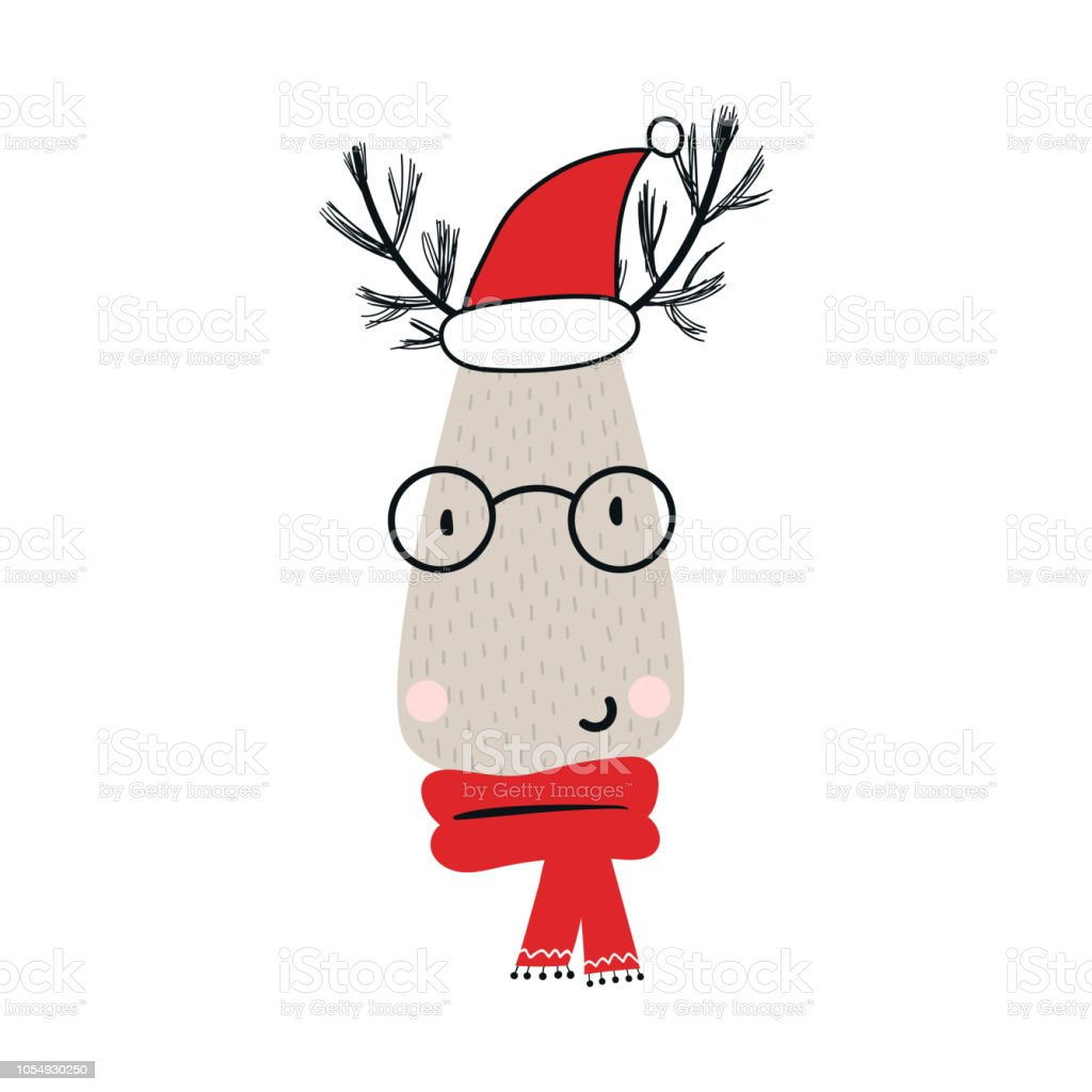 christmas deer character in santa hat new year vector illustration royalty free christmas