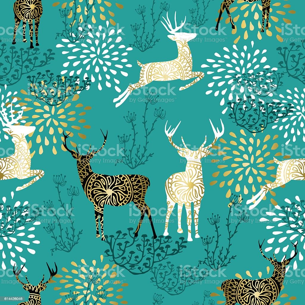 Christmas deer decoration pattern background vector art illustration