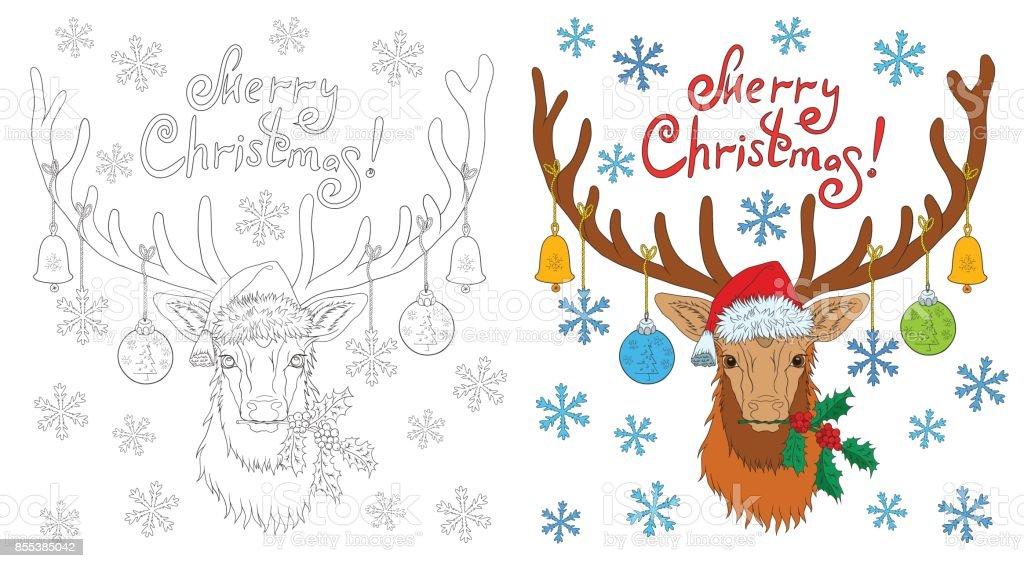 Ilustración de Cabeza De Ciervo De Navidad Libro Para Colorear Con ...