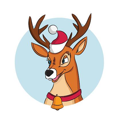 Christmas deer in Santa Claus hat.