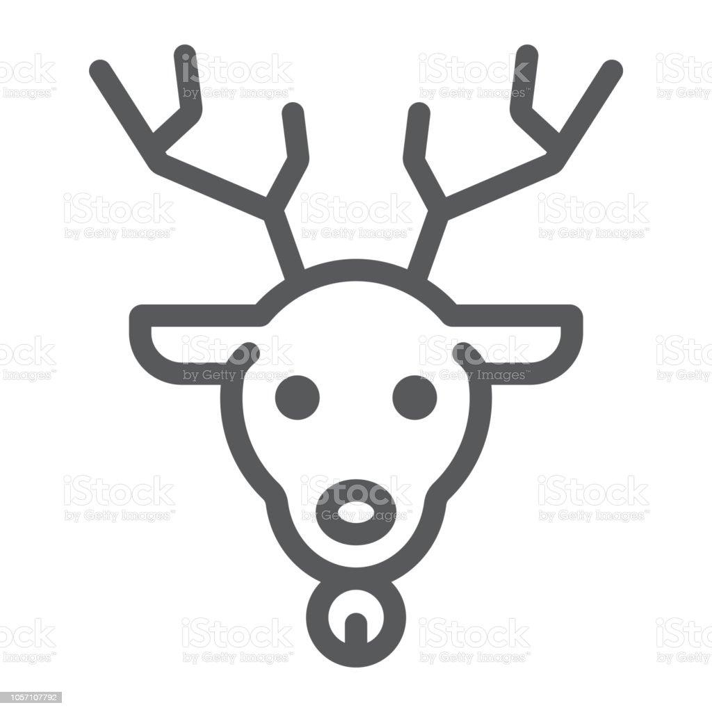 Weihnachten Hirsch Linie Icon Weihnachten Und Rentier Rudolph ...