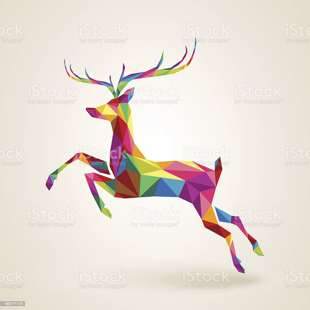 Christmas deer multicolor origami vector art illustration