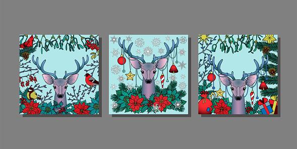 Christmas Deer templstes set. Mock ups for greeting cards