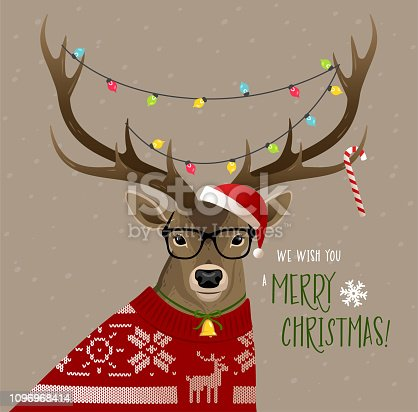 Christmas deer wearing glasses, red sweater and Christmas lights on horns.