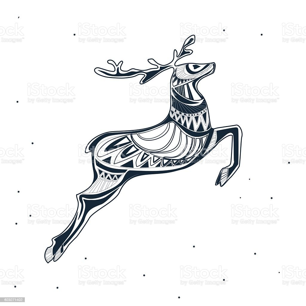 Christmas deer vector art illustration