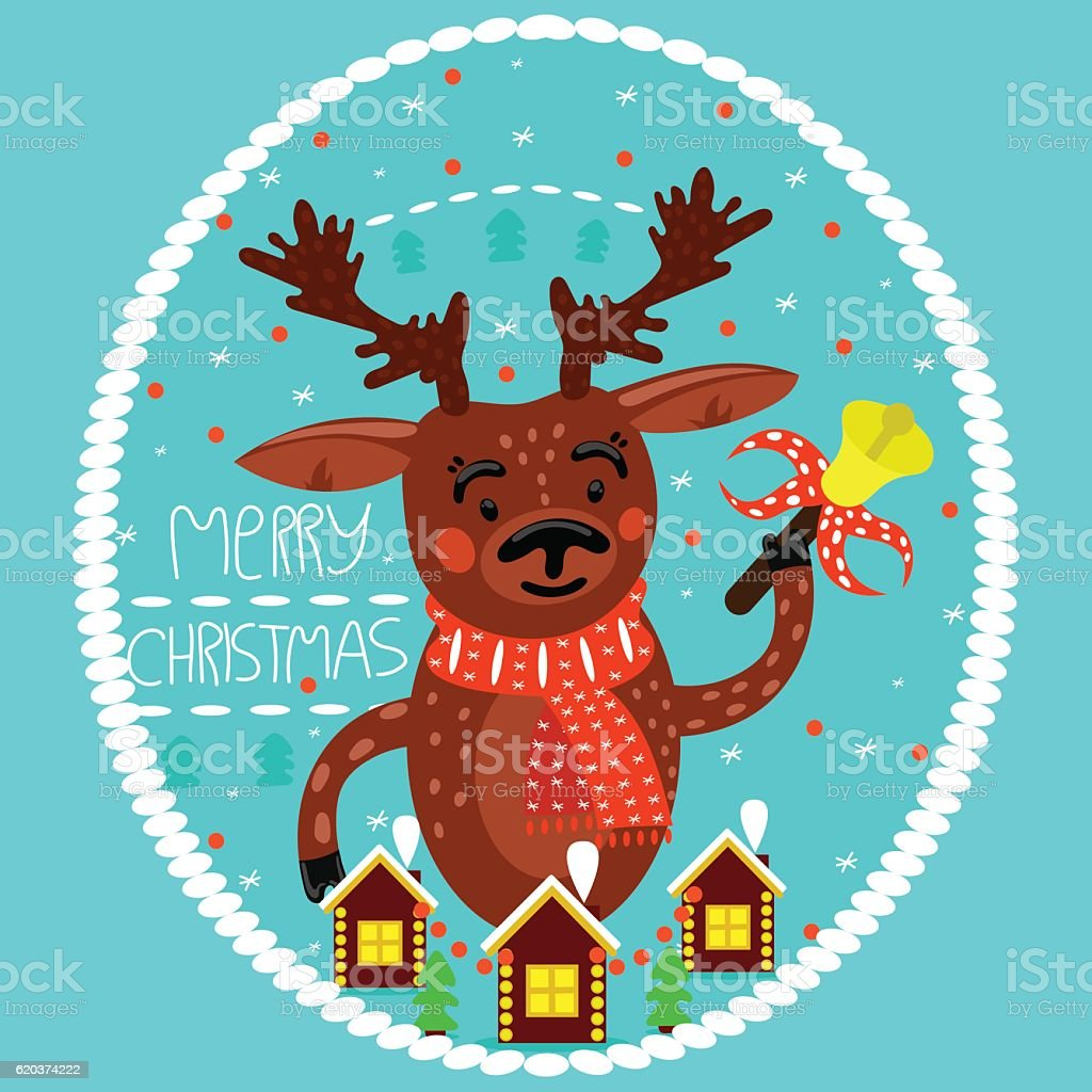 Christmas deer with bell. Holiday card. Merry Christmas. christmas deer with bell holiday card merry christmas - arte vetorial de stock e mais imagens de animal royalty-free