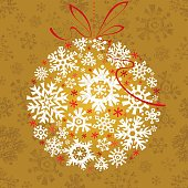 Christmas delicate ornament on gold background. Vector.