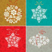 Set of Christmas delicate symbols on multicolor backgrounds. Vector.