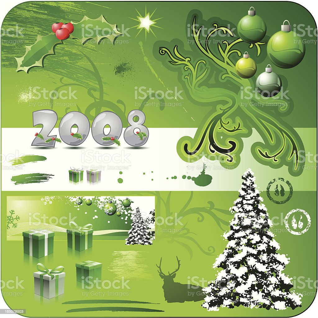 Christmas Design Elements 2008 Green royalty-free christmas design elements 2008 green stock vector art & more images of 2008