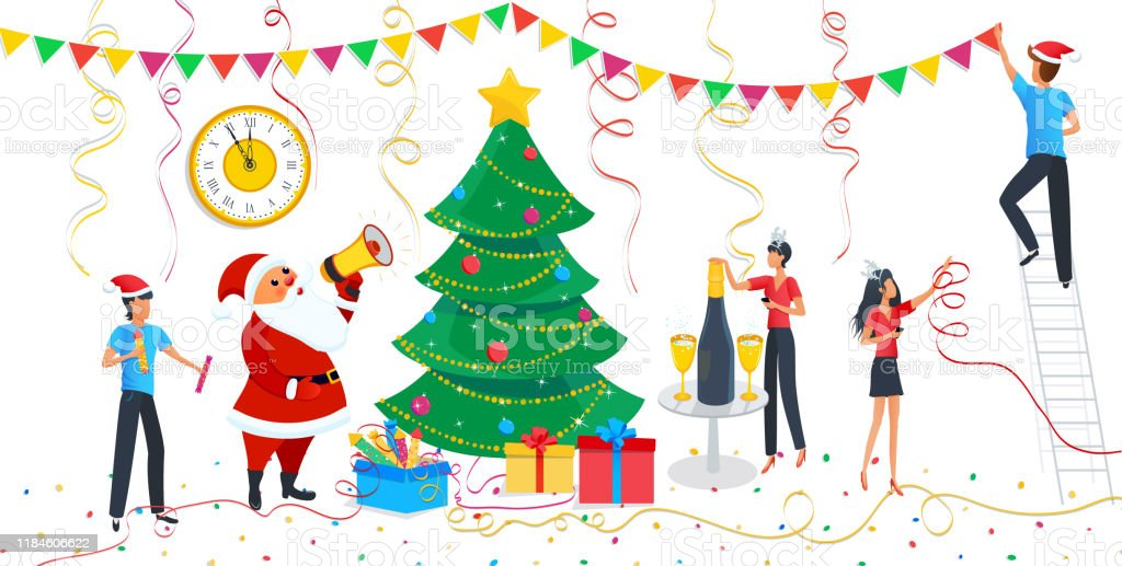 Christmas Design Elements Set Cute Cartoon Santa Claus People In Carnival Costumes At Party Family Decorating Christmas Tree At Home Clock Champagne Clipart For Merry Christmas Happy New Year Stock Illustration