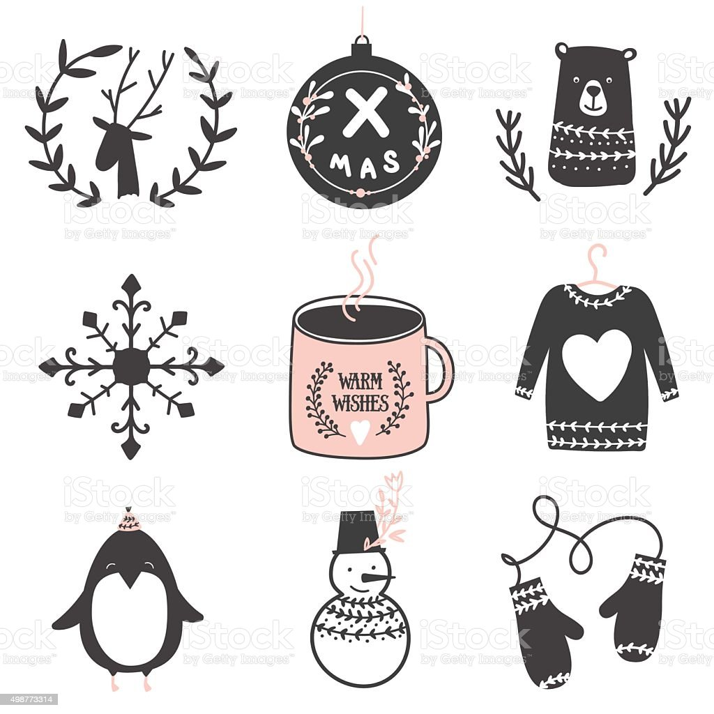 Christmas design elements set vector art illustration