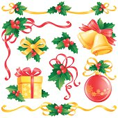 Christmas design elements with holly, vector illustration