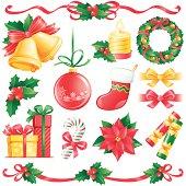 Set of Christmas design elements, vector illustration