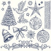 Various hand drawn Christmas design elements. Global colors used. Hi res jpeg included. Please see more works of mine linked below.