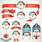 Vector set of Christmas design elements with Santa Claus illustrations. All objects are grouped separately. Eps10 file, illustration contains transparency effects in blends and gradients. High resolution JPEG, AI-CS, CS4 and CS5 files included.