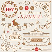 Set of Christmas and New Year decorations isolated on white background. Collection of vector elements for greeting card, party invitations, sale label, page and web decor or other holiday design.