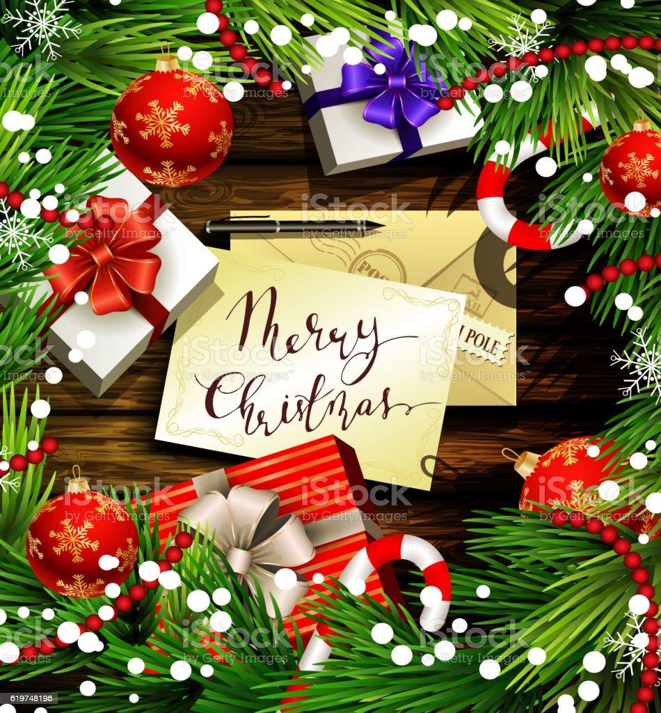 Christmas design on wood royalty-free stock vector art