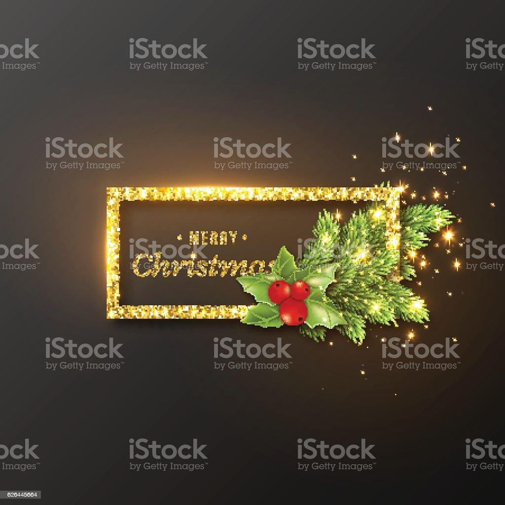 Christmas design, realistic gold frame ベクターアートイラスト