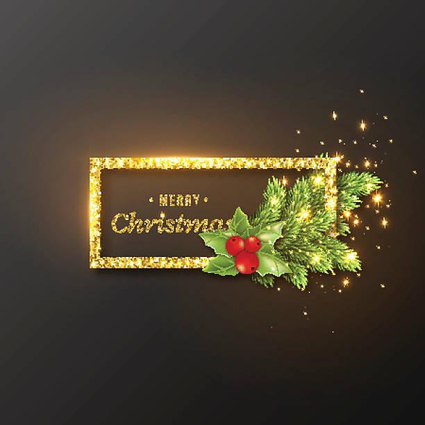 christmas design, realistic gold frame - 休日/季節ごとのイベント点のイラスト素材/クリップアート素材/マンガ素材/アイコン素材
